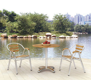 Garden wooden outdoor furniture dining table and chair for restaurant