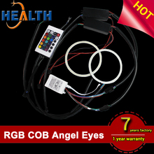 RGB universal car cob led angel eyes auto headlight halo ring kit with remote