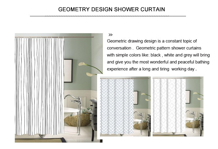 Jacquard white stripe printing polyester hookless shower curtain for hotel