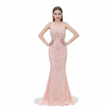 Pearl Pink Luxury Beads Prom Dress Long Mermaid Sexy Backless Evening Gown 2018