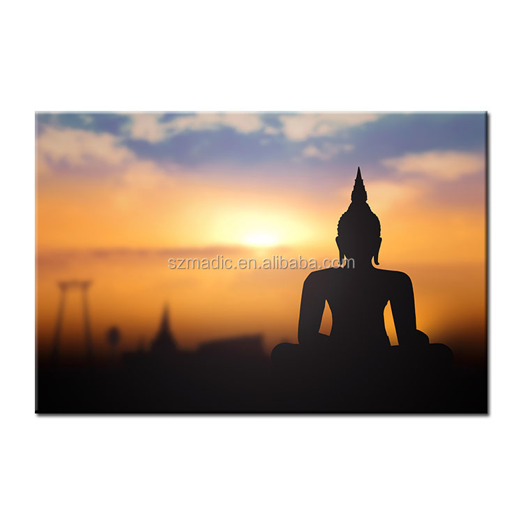 Buddha Oil Painting on Canvas Modern Room Decoration Wall Hangings Canvas Prints Buddha in Sunrise Giclee Canvas Printing