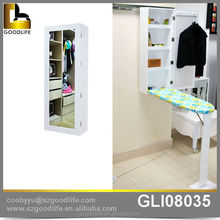 china cabinet ironing board cabinet with mirror hanging on home wall
