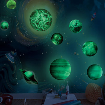 high brightness solar system nine planets good quality luminous glow in the dark wallpaper stickers for kids room decoration