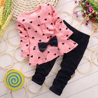 Heart-shaped 2PCS autumn clothes bulk wholesale kids clothing