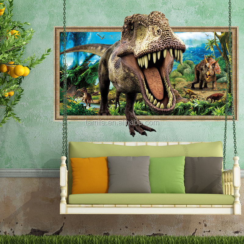 cartoon movie 3D dinasour printable home decal wall sticker for kids room decoration