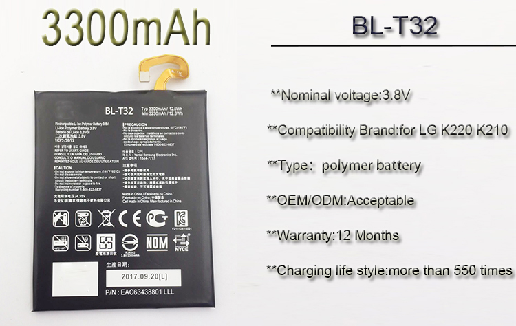 1 year warranty BL-T32 mobile phone ion lithium battery for LG K220 K210