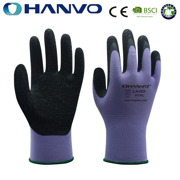 HANVO 13Gauge Purple Nylon Coated Black Latex Glove /Industrial Gloves