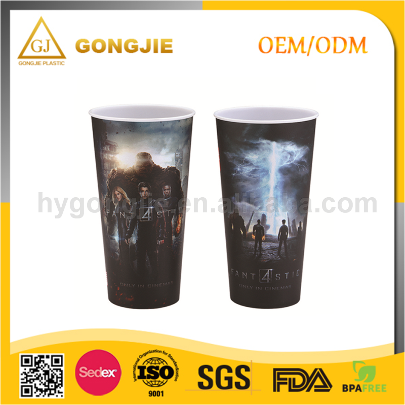 PP Customize Disposable Plastic Cup with Lid, Juice Bubble Tea Ice Coffee Cups, Reusable Plastic Cup