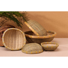 Handmade Bread Fruits and Vegetable Bamboo Basket Weaving Storage Set
