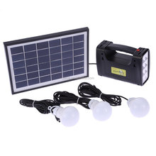 Solar Panel Lighting System LED Light Lamp Battery Charger Kit Home Camping Outdoor Use USB DC Output