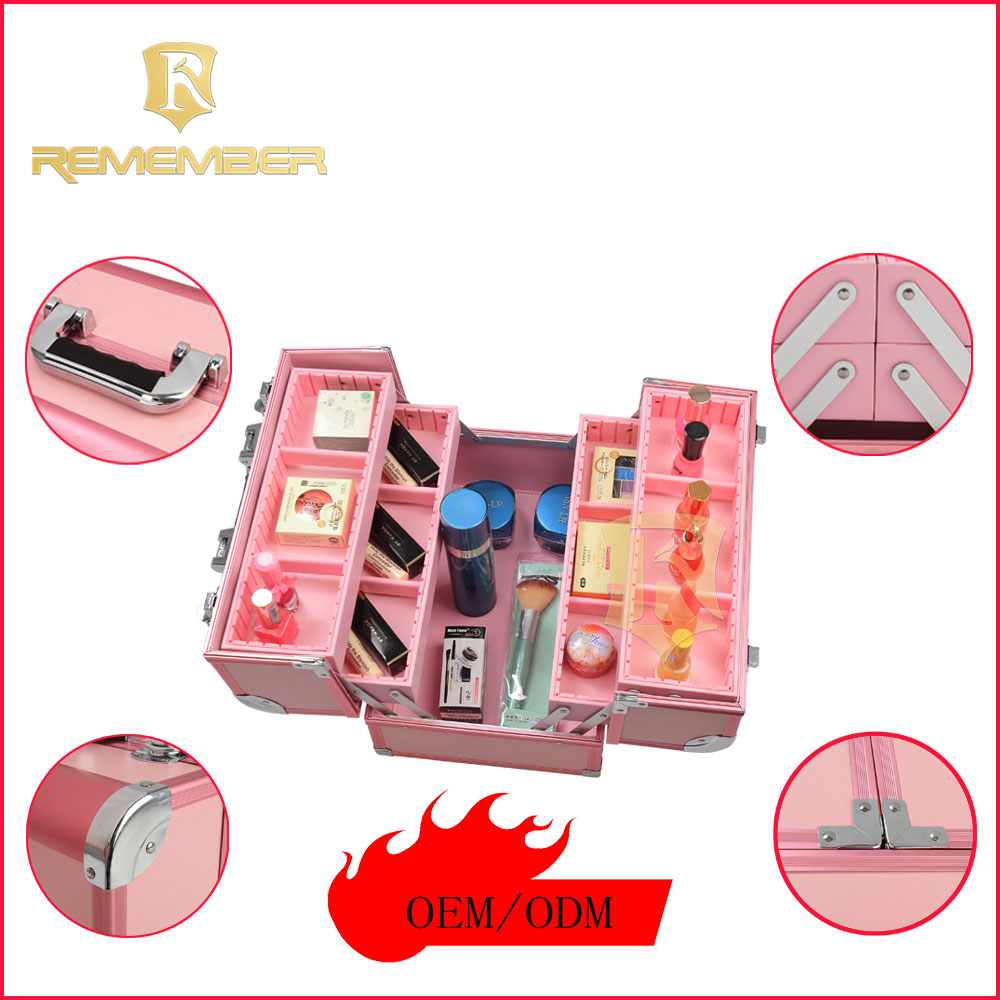 2016 Hot Sale Aluminum Multi Compartments Portable Makeup Station/Aluminum Waterproof Makeup Train Case prensa termica