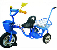 kids tricycle with back seat/2 seats children tricycle