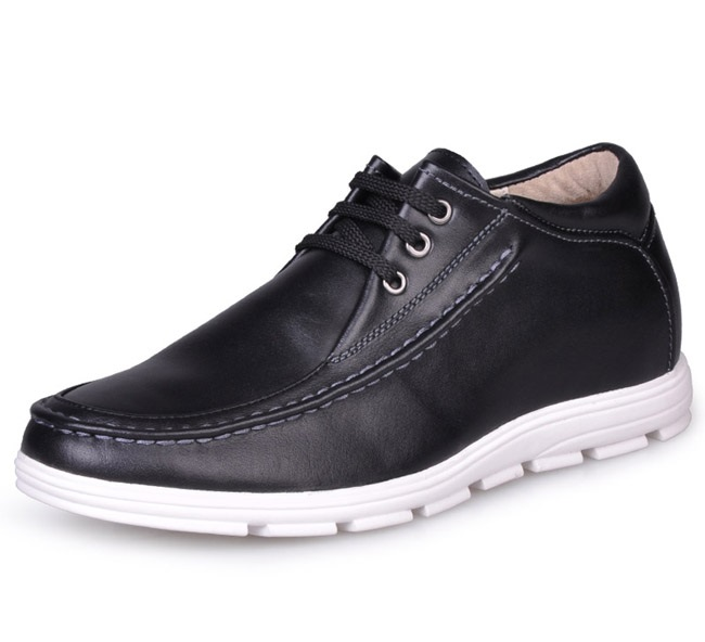 Men Casual Black Leather Elevator <strong>Shoes</strong> Height Increasing <strong>Shoes</strong> 2.36 inches