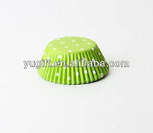 MINI Lime Green w/White Polka Dots Cupcake Liners / muffin paper cups/paper baking cups
