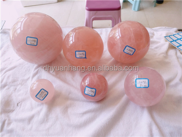 Lovely natural rose quartz crystal balls pink crystal spheres for sale
