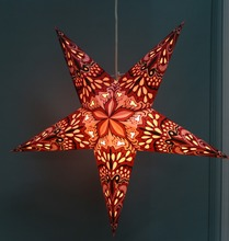 Red Paper Star Handmade Christmas light Lantern Lamp Pentagram Lampshade for Valentines Day Wedding Party Home Hanging Decor