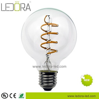 Soft/Double filament vintage led bulb G80 spiral filament 5w 6w warm white dimmable bulb