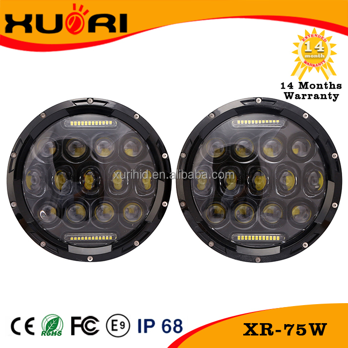 High power 75W 7 inch LED round light jee p wrangler led work light led driving lights round 7 inch for off road