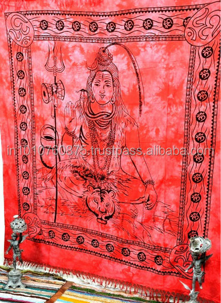 Lord Shiva Tapestry, Indian Hippie Wall Hanging