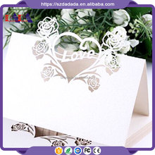 XWK17 Hollow Engagement Laser cut Rose and heart pattern table name card, party decorations