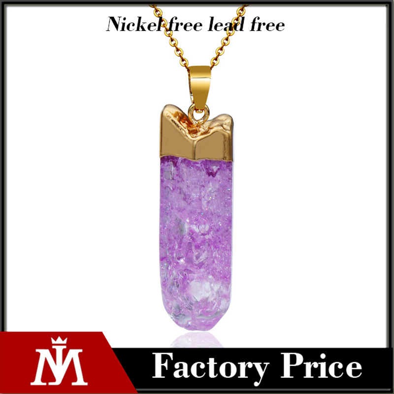 Irregular Gemestone Amethyst Quartz Pendant Necklace Handmade Warrpped Gold Jewelry