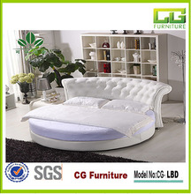 2015 Fashion luxury bedroom furniture White pu princess bed rounded leather bed