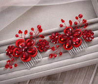 Red Lace And Crystal Vine Hair Comb Artificial Flower Girls Hair Accessories For Wedding