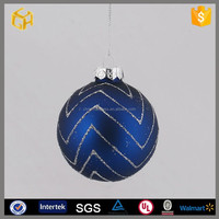 Best sell ball glass,blue ripple hand blown glass hollow ball craft