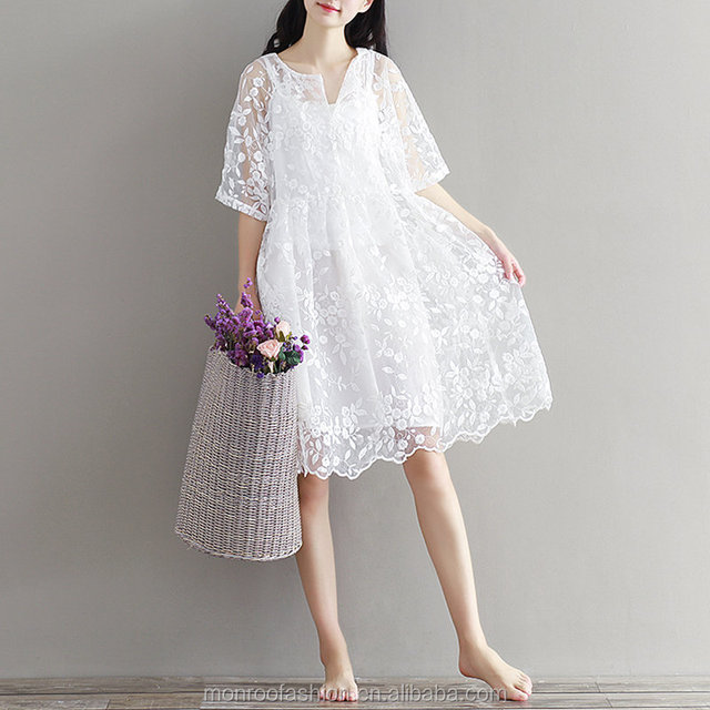 monroo Mori Girl Chiffon Dress White Color High Waist Embroidery Lace Women Dress Half Dress O Neck Two Pieces Plus Size XL