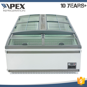 Top glass sliding door mobile deep chest freezer single temperature island display freezer
