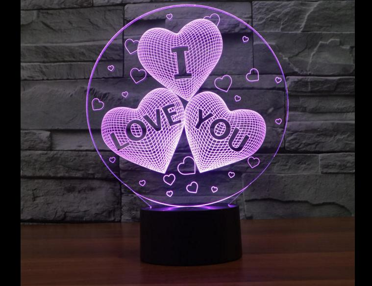 Acrylic creative 3d LED night light for home decoration