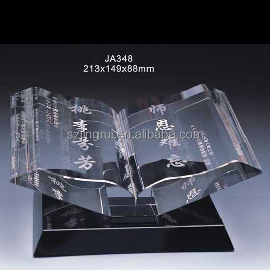 New Crystal Award/Glass Book Trophy/ Decoration Crystal Trophy