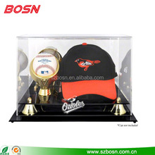 large clear acrylic baseball and hat display case crystal acrylic case display holder