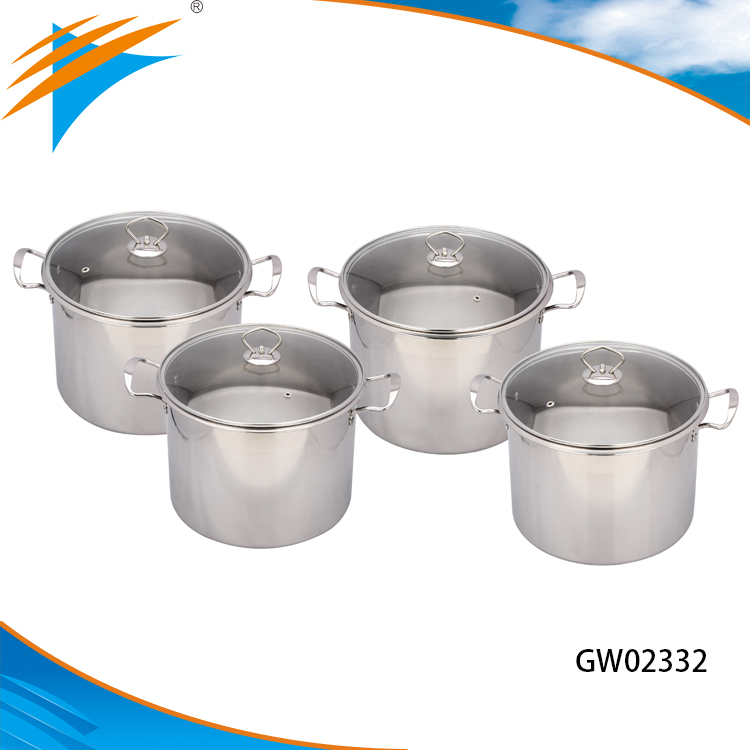 Hot-sale 8pcs Stainless Steel High Pot Soup Pot Stock Pot Kitchenware Set