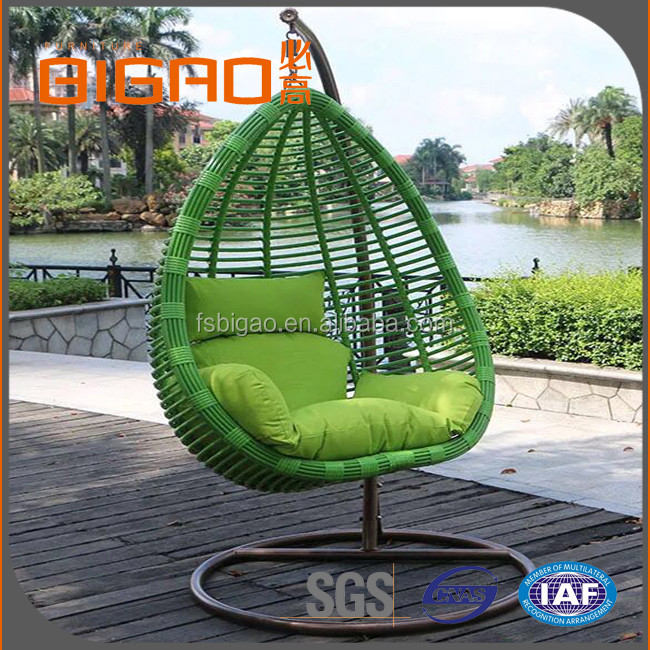 Modern Leisure Style Rattan Wicker Bedroom Iron Frame Hammock Round Patio Swing Chair