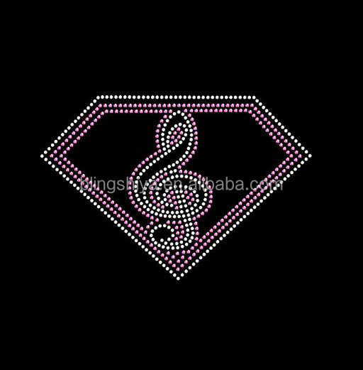 diamond music pattern rhinestone iron on transfer appliques for dress