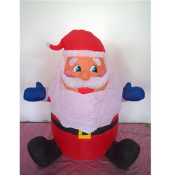 Classic windowsill christmas inflatable sitting santa claus blue gloves outdoor decor