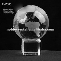 Noble New Logo Engraved Crystal Globe with Cube Stand Paperweight