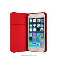 Premium leather case phone cover unique for iPhone 6 with back straps smart phone flip cover
