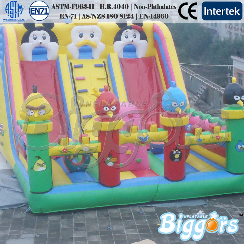 Cartoon Theme Inflatable Bouncer Double Slide For Kids Toys