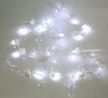 2m of beautifully crafted LED Wired Rose & Acrylic Crystal Garland Spray