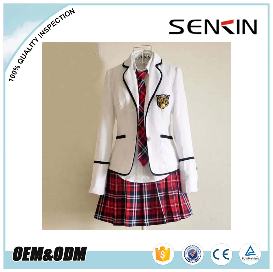 Korean Style Fashion Blazer juniors school uniforms skirts with pleated red