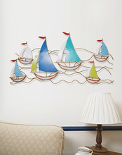 Wholesale High Quality Modern Sailing Boat Metal Wall Art Hanging Vintage Interior Wall Art Home Decoration