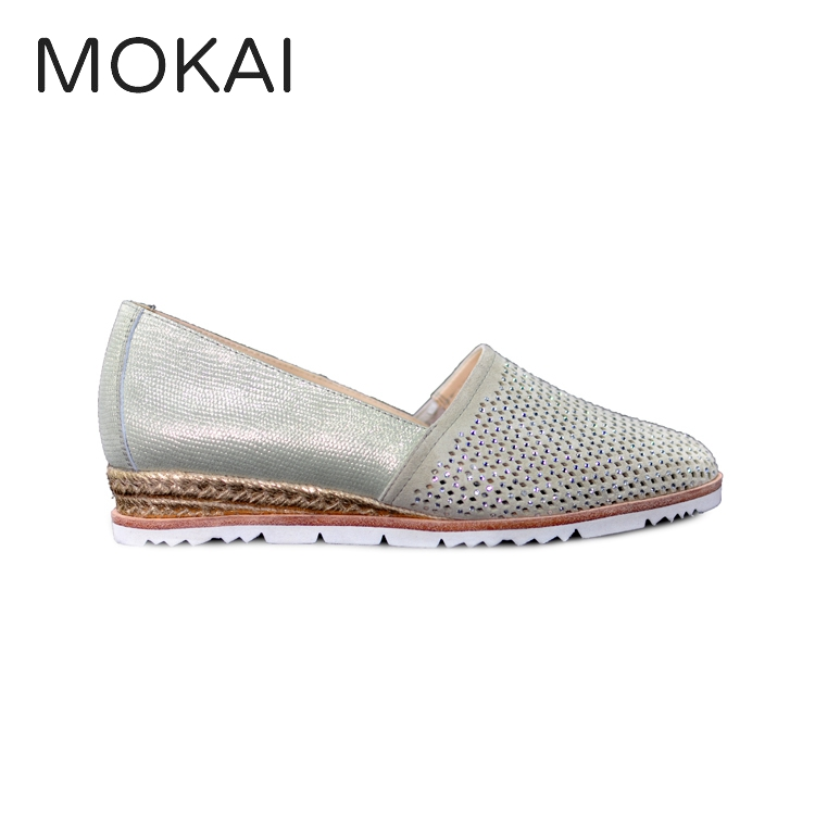 MK2059-2 pearl white lamb leather comfortable slip on espadrille shoes