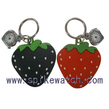 Lovely Strawberry Pocket Metal China Wholesale Keychain Watch