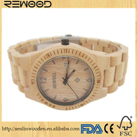 2016 hot selling wooden watch with 100% natural maple zebra wood handmade fashion automatic watches for men