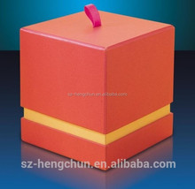 Square gift box with ribbon for candle ,cabdle box