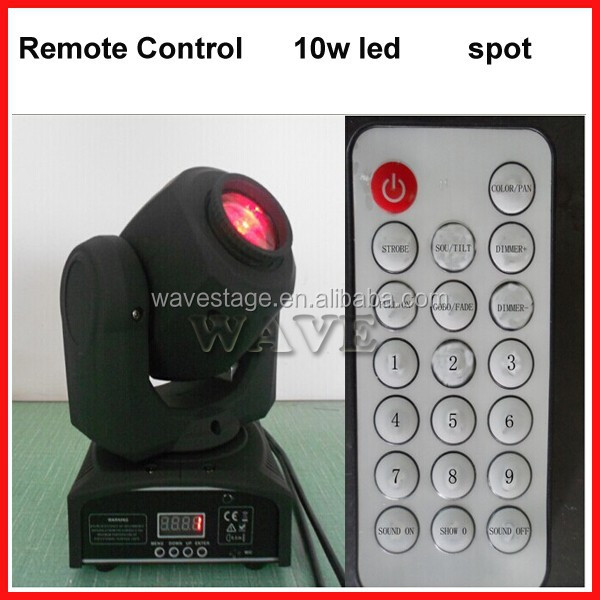 WLEDM-14-2 new remote control 10W LED spot gobo moving head professional rotating stage light