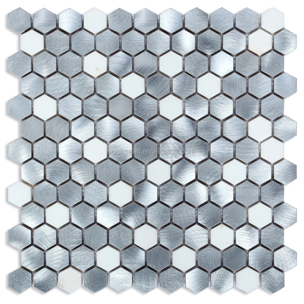 Premium Sliver brushed hexagon Wall Decorative mosaic tile Aluminum Mosaic