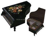 2016 High lacquer Handmade Wood Inlaid Piano shape Music Boxes